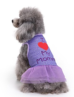 Cat Dog Dress Dog Clothes Summer Letter & Number Cute Fashion Casual/Daily Purple Cotton Pet Clothing