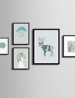 E-HOME® Framed Canvas Art  Simple Animals And Girls Theme Series Framed Canvas Print One Pcs