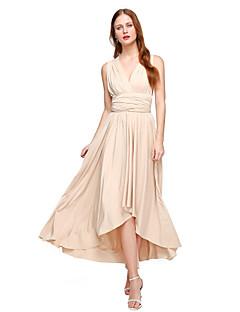 Lanting Bride® Assimétrico Microfibra Jersey Vestido Convertível Vestido de Madrinha - Linha A Decote V Tamanhos Grandes / Mignon com