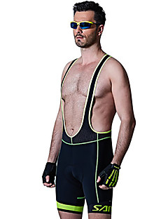 SANTIC מכנס קצר מרופד לרכיבה לגברים אופניים מכנסיים קצרים עם כתפיות שורטים (מכנסיים קצרים) מרופדים נושם אלסטיין Chinlon אחידרכיבה על