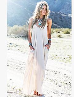 Γυναικείο Αργίες Μπόχο Φαρδιά Φόρεμα,Μονόχρωμο Αμάνικο Τιράντες Μακρύ Λινό Καλοκαίρι Ψηλοκάβαλο Ανελαστικό Μεσαίου Πάχους