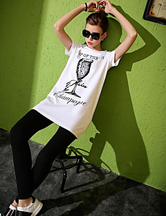 Women's Casual/Daily Simple Summer T-shirt,Solid Print Round Neck Short Sleeve Cotton Medium