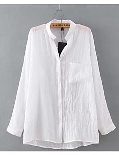 Majica Ženske,Jednostavno Ležerno/za svaki dan Jednobojni-Dugih rukava Kragna košulje-Proljeće Tanko Lan