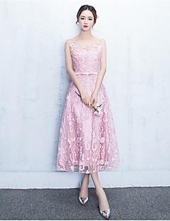 Α-γραμμή κόσμημα λαιμό τσάι δαντέλα μήκος δαντέλα φόρεμα φόρεμα με δαντέλα φόδρα / κορδέλα
