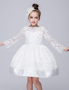 Ball Gown Short / Mini Flower Girl Dress - Organza Bateau with Appliques Bow(s) Flower(s)