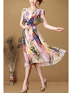 Women's Beach Holiday Boho Swing Dress,Floral Round Neck Knee-length Short Sleeve Polyester Summer High Rise Inelastic Medium