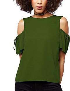 여성 솔리드 라운드 넥 짧은 소매 티셔츠,심플 스트리트 쉬크 데이트 캐쥬얼/데일리 플러스 사이즈 폴리에스테르 여름 가을 중간
