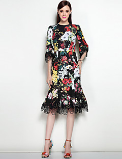 Damen A-Linie Kleid-Ausgehen Lässig/Alltäglich Sexy Street Schick Blumen Rundhalsausschnitt Midi Knielang ¾-Arm Polyester Elasthan