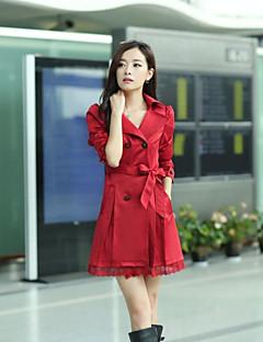 여성 한 색상 피터팬 카라 긴 소매 코트,클래식 스타일 일상 거리 긴 N/A 봄 가을
