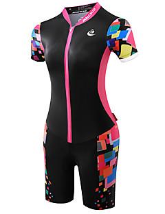 Malciklo Macacão para Triathlon Mulheres Manga Curta Moto TriatloDesign Anatômico Resistente Raios Ultravioleta Respirável Compressão