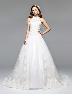 LAN TING BRIDE A-line Wedding Dress Simply Sublime Floor-length Halter Lace Tulle with Lace