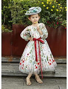 A-line תה אורך פרח ילדה שמלה - תחרה טול 3/4 אורך שרוולים תכשיט צוואר עם סרט
