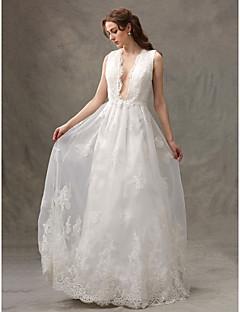 LAN TING BRIDE A-라인 웨딩 드레스 어깨 노출 스타일 바닥 길이 V-넥 레이스 튤 와 아플리케 드레이프트 레이스