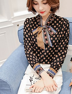 Women's Bow Casual/Daily Work Vintage Street chic Blouse,Floral V Neck Long Sleeve Polyester