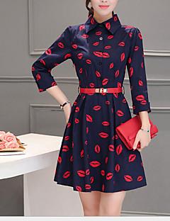 Γυναικείο Καθημερινά Απλό Πανκ & Γκόθικ Γραμμή Α Φόρεμα,Πουά Κοντομάνικο Βαθύ U Ασύμμετρο Μοντάλ Άνοιξη Φθινόπωρο Χαμηλοκάβαλο
