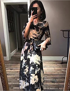 Women's Casual/Daily Loose Dress,Floral V Neck Maxi ¾ Sleeve Acrylic Spring Summer High Rise Inelastic Thin