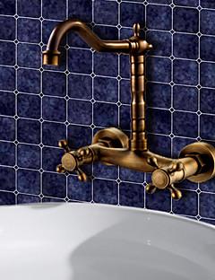 アンティーク調 センターセット ワイドspary with  セラミックバルブ 二つのハンドル二つの穴 for  アンティーク銅 , 浴槽用水栓