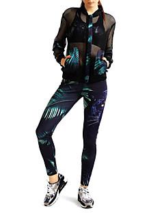 MIDUO Dame T-skjorte til jogging Langermet Pustende Solkrem Solbeskyttende klær Leggings til Trening & Fitness Løp Polyester Mesh
