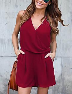 여성 단순한 섹시 캐쥬얼/데일리 데이트 롬퍼스,슬림 높은 밑위 가을 여름 솔리드