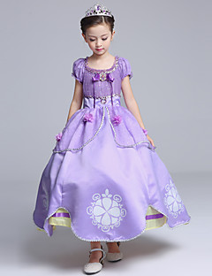 Ball Gown Tea-length Flower Girl Dress - Cotton Satin Tulle Jewel with Bow(s) Flower(s) Pattern / Print Ruffles