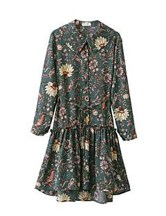 Γυναικείο Εξόδου Κομψό στυλ street Θήκη Φόρεμα,Μονόχρωμο Κοντομάνικο Στρογγυλή Λαιμόκοψη Μίντι Βαμβάκι Όλες τις Εποχές Χαμηλοκάβαλο