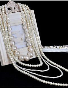 女性用 レイヤードネックレス パールネックレス クロス 真珠 多層式 ロング丈 結婚式 コスチュームジュエリー ジュエリー 用途 結婚式 パーティー 誕生日