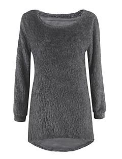 Damer I-byen-tøj Afslappet/Hverdag Normal Pullover Ensfarvet,Rund hals Langærmet Bomuld Spandex Alle årstider Medium Mikroelastisk