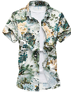 メンズ お出かけ カジュアル/普段着 祝日 夏 秋 シャツ,シンプル シャツカラー フラワー コットン 半袖 薄手