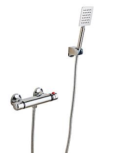 現代風 シャワーのみ サーモスタットタイプ with  セラミックバルブ 二つのハンドル二つの穴 for  クロム , シャワー水栓