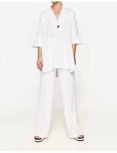 3/4 ærmelængde V-hals Medium Damer Ensfarvet Sommer Sexet Simpel Gade I-byen-tøj Afslappet/Hverdag T-shirt,Silke Bomuld