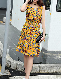 Women's Casual/Daily Swing Dress,Floral Round Neck Knee-length Sleeveless Cotton Summer High Rise Inelastic Thin