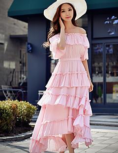 Damer Sødt Gade Sofistikerede I-byen-tøj Afslappet/Hverdag Ferie Skift Skede Kjole Ensfarvet,Skulderfri Asymmetrisk Kortærmet Polyester