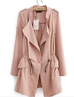 여성 솔리드 스탠드 긴 소매 트렌치 코트,심플 캐쥬얼/데일리 긴 면 가을