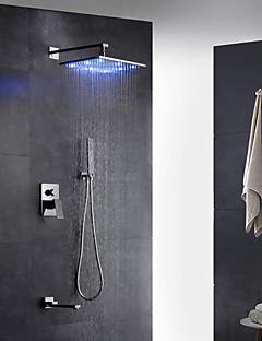 現代風 アールデコ調/レトロ風 近代の 壁式 LED レインシャワー 引出式スプレー with  真鍮バルブ シングルハンドル二つの穴 for  クロム , シャワー水栓
