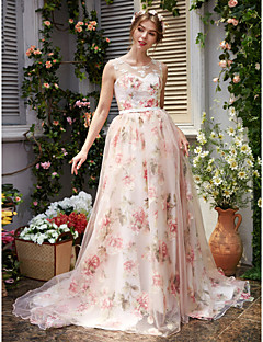 Formal Evening Dress - Pattern Dress A-line Jewel Court Train Organza with Appliques Beading Sash / Ribbon