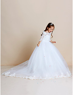 Ball Gown Sweep / Brush Train Flower Girl Dress - Lace Tulle Off-the-shoulder with Appliques Lace