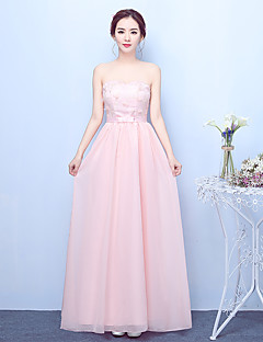 Ankle-length Chiffon Satin Elegant Bridesmaid Dress - A-line Strapless with Bow(s) Embroidery