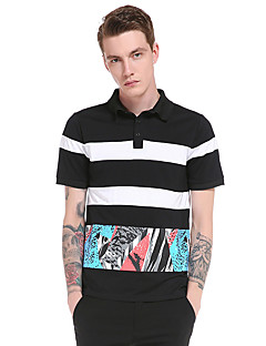 Men's Going out Casual/Daily Party Vintage Simple Street chic Summer T-shirt,Striped Print Shirt Collar Short Sleeve Polyester Thin