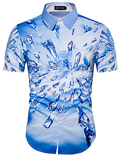 Для мужчин На каждый день Пляж Праздник Рубашка Рубашечный воротник,Секси Простое Уличный стиль С принтом С короткими рукавами,Хлопок