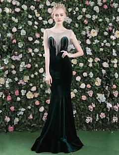 ערב רישמי שמלה - סקסי אלגנטי בתולת ים \ חצוצרה עם תכשיטים עד הריצפה סאטן טול קטיפה עם פרטים מקריסטל פרנזים