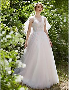 Ballkjole Bryllupskjole - Chic og moderne Bryllupskjoler i Farge Svøpeslep Besmykket Tyll med Appliqué Perlearbeid
