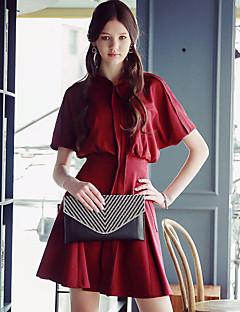 Damer Vintage Gade Sofistikerede I-byen-tøj Afslappet/Hverdag Fest/cocktail A-linje Skede Kjole Ensfarvet,Høj krave Over knæet Kortærmet