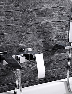 Moderne Vægmonteret Vandfald with  Keramik Ventil Enkelt håndtag tre huller for  Krom , Badekarshaner