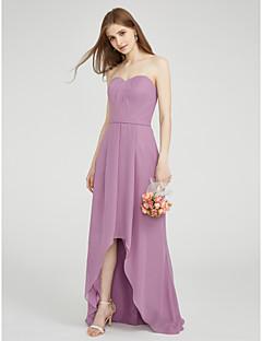 LAN TING BRIDE א-סימטרי מחשוף לב שמלה לשושבינה - אלגנטי ללא שרוולים שיפון
