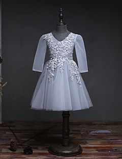 A-Line Knee Length Flower Girl Dress - Organza Long Sleeves V-neck with Beading