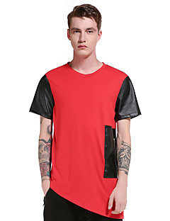 Men's Going out Casual/Daily Party Vintage Simple Street chic Spring Summer T-shirt,Solid Patchwork Round Neck Short Sleeve Polyester Thin