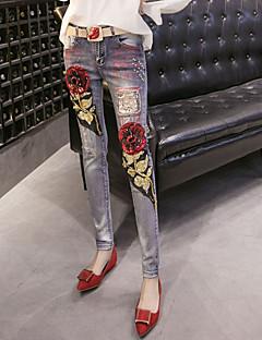 מכנסיים ג'ינסים strenchy סקיני גיזרה בינונית (אמצע) דפוס סגנון רחוב נשים