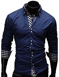 Langærmet Herrer Ensfarvet Trykt mønster Ternet Afslappet/Hverdag Arbejde Formelle Plusstørrelser Skjorte,Bomuld