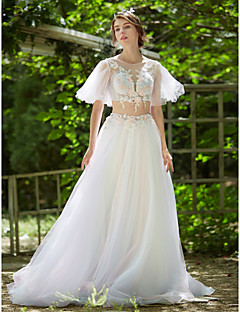 A-line Wedding Dress - Chic & Modern Two-in-One Wedding Dress in Color Sweep / Brush Train Jewel Tulle with Appliques Beading Flower