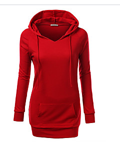 Women's Casual/Daily Simple Hoodie Solid Round Neck Micro-elastic Cotton Long Sleeve Spring